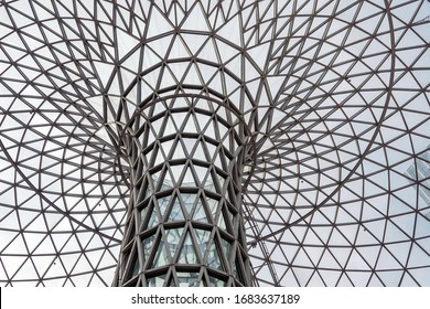 SHANGHAI, CHINA - NOVEMBER 10, 2018. New Shopping Mall LuOne. Double Curve Funnel Shaped Skylight. Architectural Glass Steel Structure of a Dome. Parametric Design.