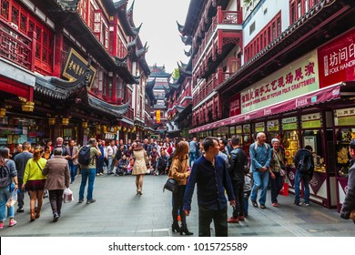 Shanghai - China,  November 13, 2017:The famous Yu Garden pedestrian street in Shanghai, the long history shopping street.The Yu Garden Shopping Center is always very crowded.