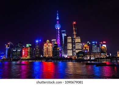SHANGHAI, CHINA - NOVEMBER 16, 2017 Oriental Pearl TV Tower Pudong Bund Huangpu River Skyscrapers Cityscape Shanghai China