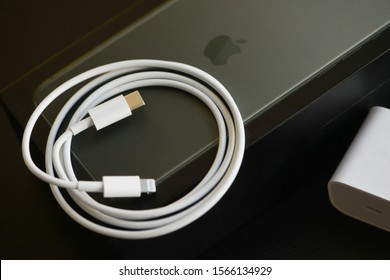 Shanghai, China: November 19, 2019: Brand new USB-C type to Lightning fast charging cable of with iPhone 11 Pro Max. Charger provides 18W capacity and included with iPhone 11.