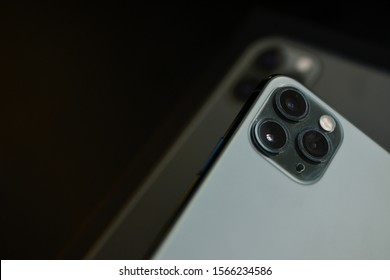 Shanghai, China: November 19, 2019: Brand new stylish iPhone 11 Pro Max with significant triple cameras.