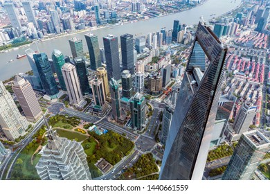 Shanghai - China - November 31, 2018:Viewed from the sightseeing hall of Shanghai Central Building, the tallest building in Shanghai.Shanghai Urban Landscape.