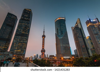 SHANGHAI, CHINA - OCT 17.:Modern financial building in Shanghai on OCT 17, 2018. Shanghai is a world famous financial center.