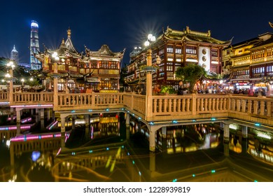 SHANGHAI, CHINA - OCT 18.:Yu Garden historic Buildings in Shanghai on OCT 18, 2018. Shanghai is a world famous financial center.
