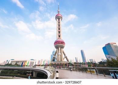 Shanghai, China -  OCT 19, 2015. Shanghai Oriental pearl TV tower building scenery. The Oriental pearl TV tower is the famous landmarks in Shanghai.