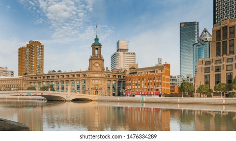 SHANGHAI, CHINA - OCT 19.:Historic Buildings in Shanghai on OCT 19, 2018. Shanghai is a world famous financial center.