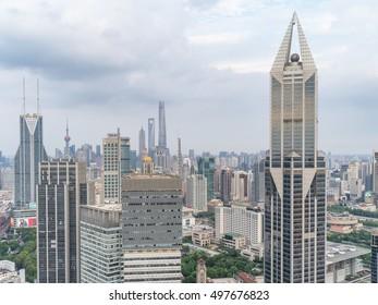 Shanghai, China - Oct. 2, 2016: aerial view of Shanghai city.