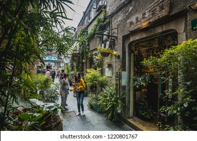 SHANGHAI, CHINA - OCT 20.:Tianzifang Old Street Shop in Shanghai on OCT 20, 2018. This is one of the most popular places for tourists.