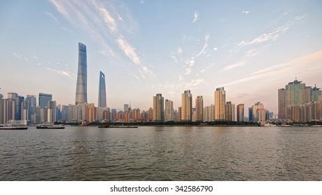 Shanghai, China -Oct. 3, 2015: beautiful shanghai bund viewed from Puxi in the twilight
