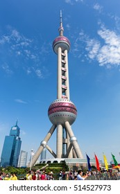 Shanghai, China - OCT 3, 2015. Shanghai Oriental pearl TV tower building scenery. The Oriental pearl TV tower is the famous landmarks in Shanghai.
