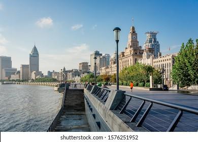 "SHANGHAI, CHINA - OCTOBER 13, 2019: Shanghai Waitan ""The Bund"" in the morning. The Bund or Waitan in Shanghai is a waterfront area in central Shanghai."