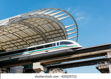 Shanghai, China - October 15, 2015: The Shanghai Maglev Train or Shanghai Transrapid is  is a magnetic levitation train, or maglev line that operates in Shanghai, China.