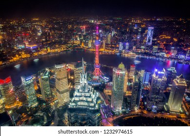 Shanghai, China - October 15, 2018: Aerial View of Shanghai Cityscape with Oriental Pearl tower at night time