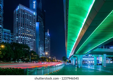 Shanghai, China - October 15, 2018: Shanghai street view at night time.  Photo taken from Century Ave, outside of Shanghai world financial center.