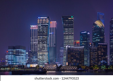 Shanghai, China - October 15, 2018:  Beautiful cityscape night view at Pudong New Area, Shanghai.  Photo was taken at Huangpu river.