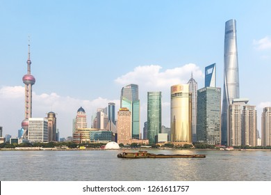 Shanghai, China - October 15, 2018:  Beautiful cityscape at Pudong New Area, Shanghai.  Photo was taken at Huangpu river.