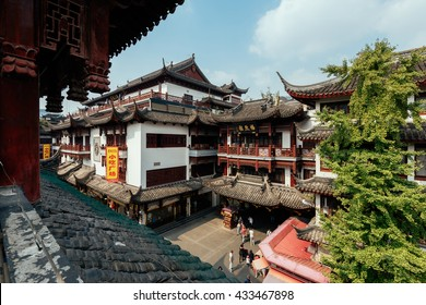 Shanghai, China - October 16, 2015: Traditional Chinese architecture in Yuyuan Garden. Yuyuan Gardens is an extensive Chinese garden located t of the Old City of Shanghai, China.