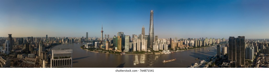 Shanghai, China. October 24, 2017: Shanghai Skyline Panorama taken with a drone