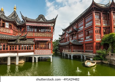 Shanghai, China - October 26, 2013: Garden of Happiness (Yuyuan Garden), Shanghai's landmark with heritage building architecture, Shanghai, China.