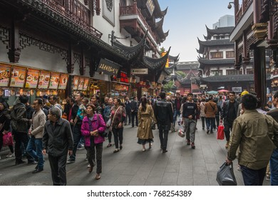SHANGHAI, CHINA - OCTOBER 29, 2017: People are walking in old city area