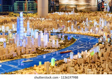 Shanghai, China - October 3, 2017: Part of a large scale model of the city including skyscrapers in the Pudong New District (Lujiazui) at downtown. The Shanghai Urban Planning Exhibition Center.
