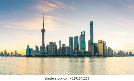Shanghai - China - October 30 ,2018:Shanghai The Bund , located on the Bank of the Huangpu River in the Central District of Shanghai, is a scenic spot of Shanghai and a tourist destination for sightse
