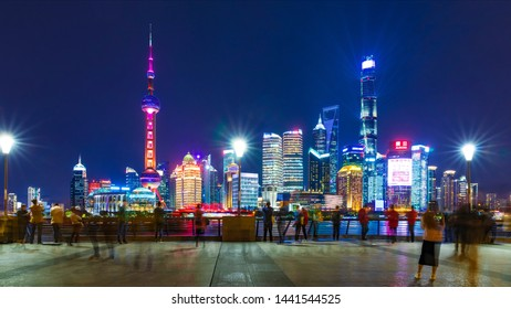 Shanghai - China - October 30 ,2018:Shanghai The Bund , located on the Bank of the Huangpu River in the Central District of Shanghai, It's a trade center and a financial center.