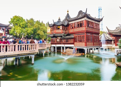 Shanghai - China,  October 31, 2018:The famous Yu Garden pedestrian street in Shanghai, the long history shopping street.Old City God Temple in Shanghai.