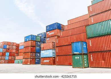 Shanghai, China - on April 18, 2016:Scene of Shanghai port container freight terminal??Shanghai became the world's largest container port and plays a dominant role in the trade between East and West?