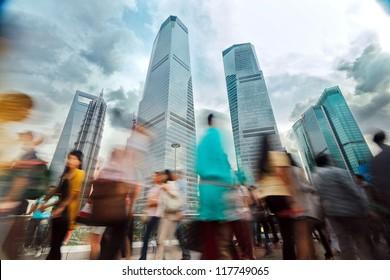 Shanghai, China, pedestrian viaduct the crowds.