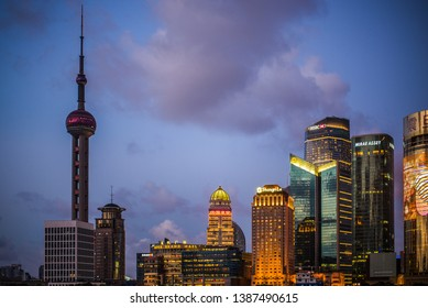 SHANGHAI, CHINA: Pudong district view from The Bund waterfront area.