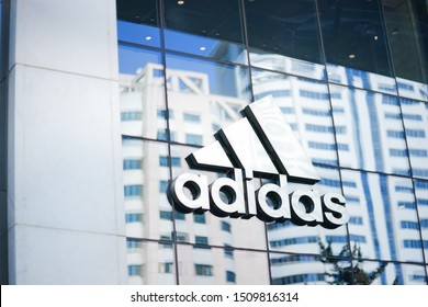 Shanghai, China - Sep 18, 2019 : A photo of adidas logo at one branches of adidas shop in China. adidas is 1 of the top 3 most famous for sportwears and fashion.