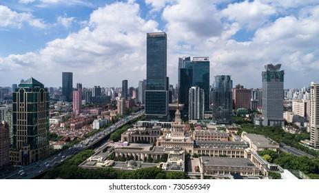 SHANGHAI, CHINA - Sep 24: Aerial View of Jingan district, Shanghai, on 24 Sep,2017 in Jingan district, Shanghai, China.
