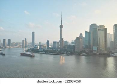 Shanghai, China -Sept. 28, 2015: beautiful shanghai bund viewed from Bund SOHO.