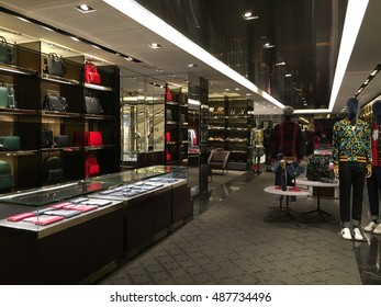 SHANGHAI, CHINA - Sept,23. 2016: Gucci store. Gucci is an Italian fashion and leather goods brand was founded by Guccio Gucci in Florence in 1921. Gucci has about 425 stores worldwide.