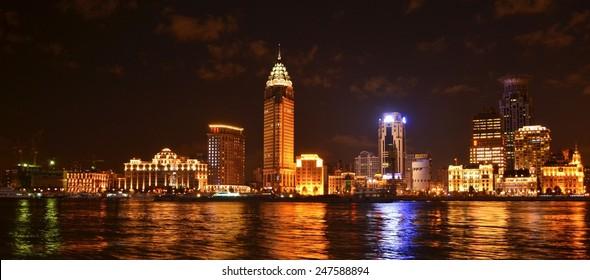SHANGHAI, CHINA, SEPTEMBER 2, 2013: illuminated skyline of the bund area of shanghai.