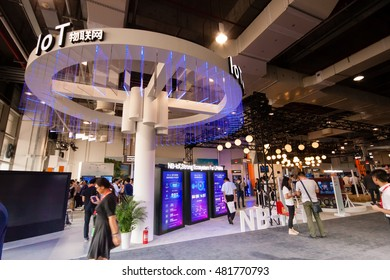 SHANGHAI, CHINA - SEPTEMBER 2, 2016: Internet of things Huawei booth at Connect 2016 information technology conference and exhibition in Shanghai, China on September 2, 2016.
