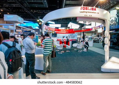 SHANGHAI, CHINA - SEPTEMBER 2, 2016: Booth of Toshiba company at Connect 2016 information technology conference and exhibition in Shanghai, China on September 2, 2016.