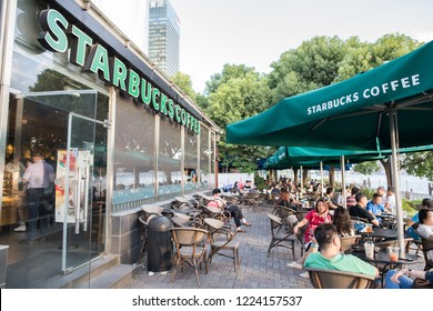 Shanghai, China: September 26, 2018:  An exterior of a Starbucks store in Shanghai, China.  Starbucks has 3,000 stores in China.