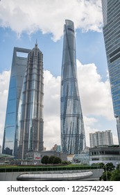 Shanghai, China: September 26, 2018: Shanghai Tower and Shanghai cityscape with skyscrapers. Shanghai is the largest city in China and second most populated city in the world.