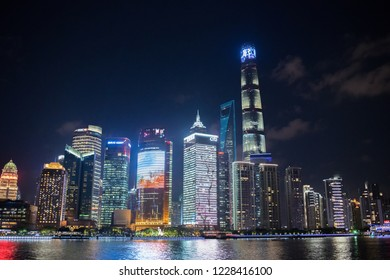 Shanghai, China: September 26, 2018: Shanghai cityscape with skyscrapers. Shanghai is the largest city in China and second most populated city in the world.
