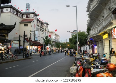 Shanghai, China: September 26, 2018: A residential old city/district of Shanghai, China. Shanghai is the largest city in China and second most populated city in the world.