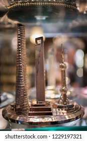 Shanghai, China: September 26, 2018: A A miniature souvenir of the Shanghai Tower and Oriental Pearl Tower. Shanghai is the largest city in China and second most populated city in the world.