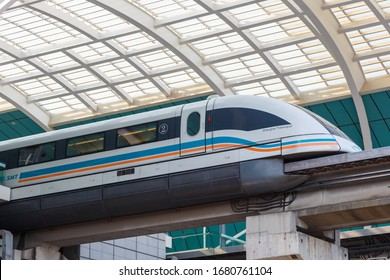 Shanghai, China – September 27, 2019: Shanghai Transrapid Maglev magnetic levitation train station in China.
