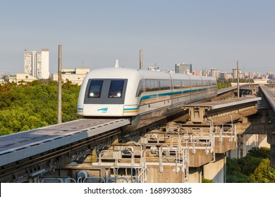 Shanghai, China – September 27, 2019: Maglev Shanghai Transrapid magnetic levitation train infrastructure in China.
