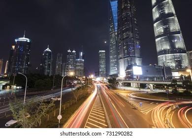 SHANGHAI, CHINA - September 5, 2017: Shanghai Pudong financial district night shot.