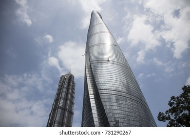 SHANGHAI, CHINA - September 8, 2017: Shanghai Pudong. Shanghai tower, Jin Mao tower