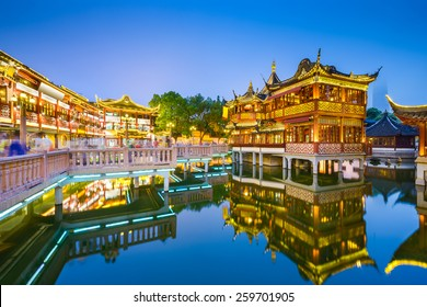 Shanghai, China view at the traditional Yuyuan Garden District.
