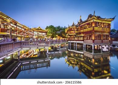 Shanghai, China at Yuyuan Gardens.