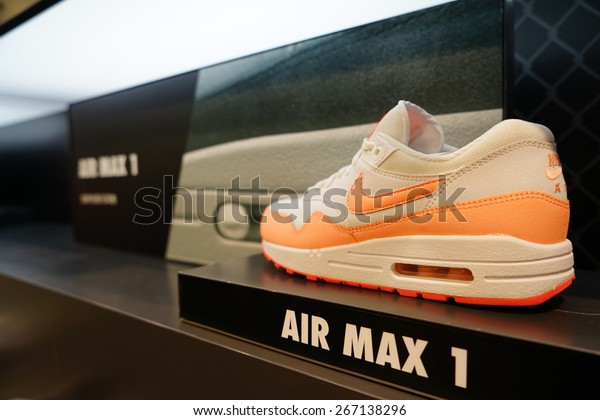 SHANGHAI. CHINA-APR.5.2015;Nike shoes in retail store.Nike is one of famous sports fashion brands worldwide and it is one of the world's largest suppliers of athletic shoes and apparel.